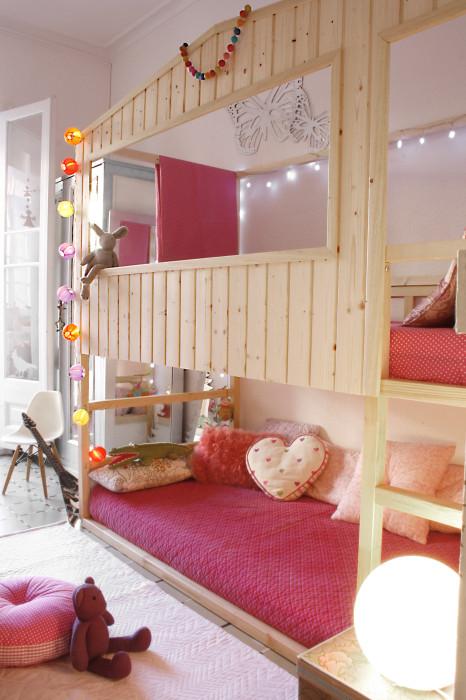Letto a castello Ikea Kura trasformato in casetta di legno