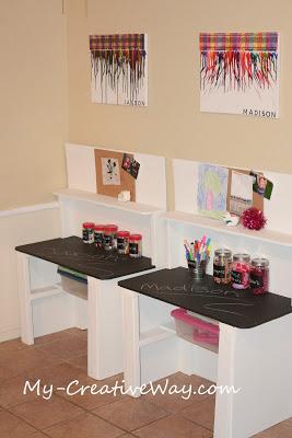 angolo creativo bambini scrivania lavagna