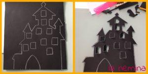 disegnamo il castello di Halloween e ritagliamolo